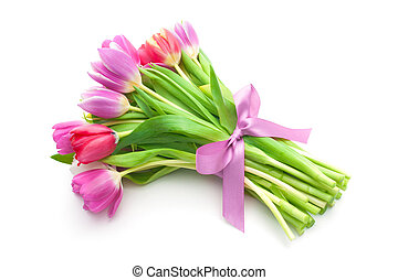 μπουκέτο , από , άνοιξη , τουλίπα , λουλούδια