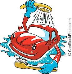 μπόρα , αυτοκίνητο , πλύση , βούρτσα