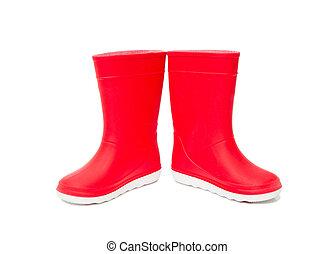 μπότεs , απομονωμένος , kids., κόκκινο , rainboots, λάστιχο