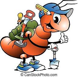 μυρμήγκι , εργάτης κατάλληλος για διάφορες εργασίες , εργαζόμενος , ευτυχισμένος