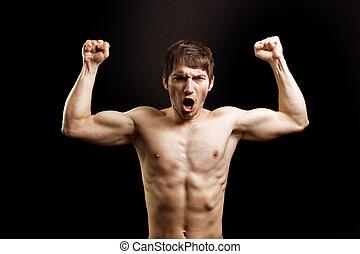 μυώδης , θυμωμένος , δυνατός , ξεφωνίζω , άντραs , γενναίος