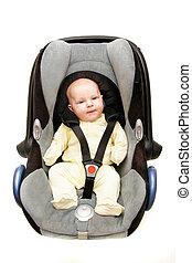 μωρό , αυτοκίνητο , πάνω , άσπρο , κάθισμα