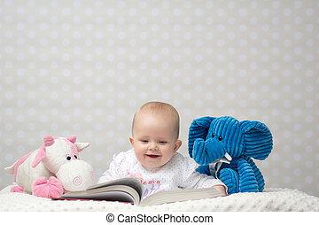 μωρό , βιβλίο ανάγνωσης , ευτυχισμένος