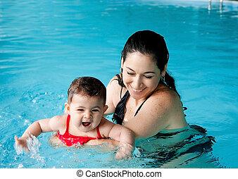 μωρό , διδασκαλία , μητέρα , κολύμπι