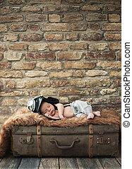 μωρό , μικρός , κοιμάται , πιλότοs , αποσκευέs