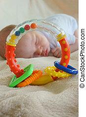 μωρό , μικρός , κρεβάτι , κοιμάται