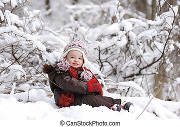 μωρό , μικρός , χειμώναs , κορίτσι