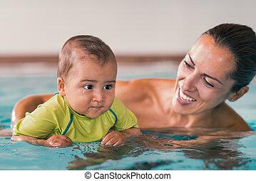 μωρό , πισίνα , αγόρι , μητέρα