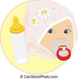 μωρό , πορτραίτο , μπουκάλι