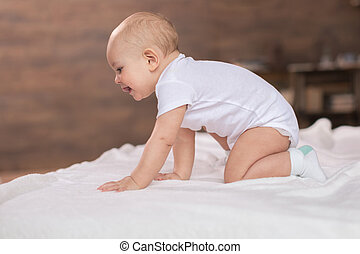 μωρό , χαριτωμένος , κρεβάτι , αγόρι