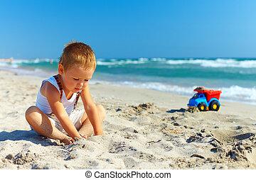 μωρό , χαριτωμένος , παραλία , παίξιμο , αγόρι