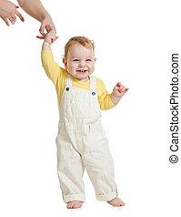 μωρό , 1 αναβαθμός , με , γονιόs , βοήθεια
