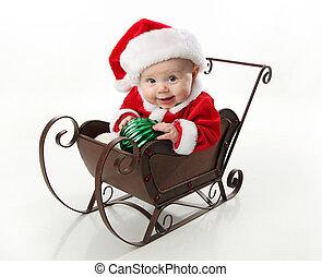 μωρό , sleigh, κάθονται , santa