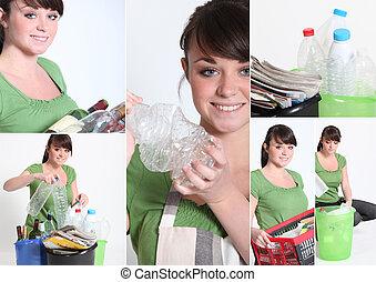 μωσαικό , από , νέα γυναίκα , ανακύκλωση