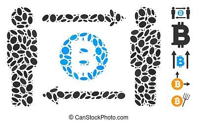 μωσαικό , bitcoin, ανταλλαγή , διάσπαρτος , άνθρωπος