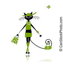 μόδα , γάτα , σχεδιάζω , μαύρο , δικό σου , ρούχα