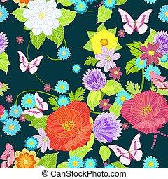 μόδα , λιβάδι , seamless, πλοκή , σχεδιάζω , λουλούδια , δικό σου