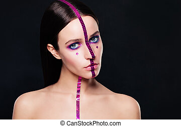 μόδα , μακιγιάζ , δημιουργικός , μαύρο φόντο , μοντέλο