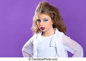 μόδα , πορφυρό , μακιγιάζ , κορίτσι , παιδιά , παιδί