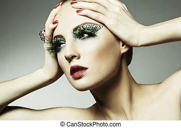 μόδα , φωτογραφία , από , ένα , νέα γυναίκα , με , μακριά , βλεφαρίδες