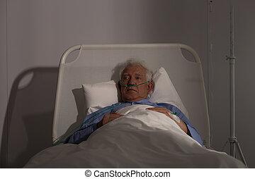 μόνος , γεροντότερος , νοσοκομείο , ασθενής