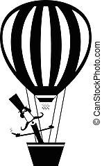 μύγες , balloon, πούρο , απομονωμένος , αέραs , γελοιογραφία , μουστάκι , άντραs