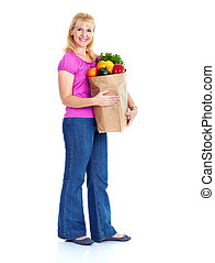 νέα γυναίκα , με , ένα , είδη μπακαλικής αγοράζω από καταστήματα , bag.