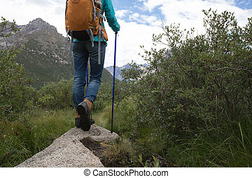 νέα γυναίκα , backpacking , πεζοπορία , φύση
