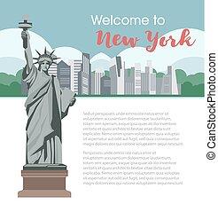 νέα υόρκη , καλωσόρισμα , αφίσα , για , αμερική , διανύω...