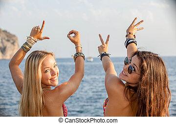 νέοι άνθρωποι , ευτυχισμένος , επάνω , άνοιξη , διακοπές , ή , ακμή άδεια