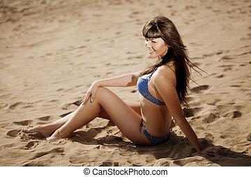 νέος , άμμος αχανής έκταση , γυναίκα , όμορφος