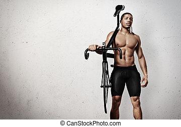 νέος , αθλητής , με , ποδήλατο