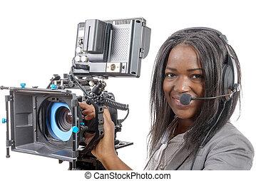 νέος , αμερικανός , φωτογραφηκή μηχανή , βίντεο , αφρικανός , επαγγελματικός , γυναίκεs