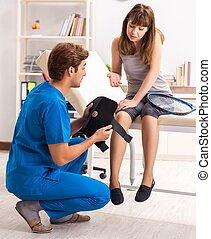 νέος , επίσκεψη , παίχτης , traumatologist, τένιs , γιατρός