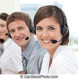 νέος , επιχειρηματίαs γυναίκα , χαμογελαστά , σε , ο , φωτογραφηκή μηχανή