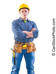 νέος , εργάτης , με , εργαλεία , απομονωμένος