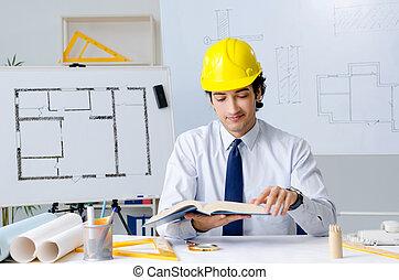 νέος , εργαζόμενος , αρχιτέκτονας , εξέχω , ωραία
