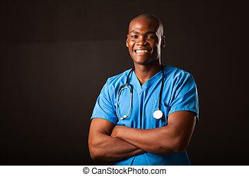 νέος , ιατρικός , αφρικάνικος αμερικάνικος , γιατρός