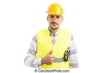 νέος , και , ωραία , hardhat , εργάτης , εκδήλωση , thumbsup
