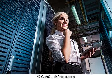 νέος , μηχανικόs , επιχειρηματίαs γυναίκα , μέσα , ακόλουθος δωμάτιο