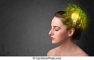νέος , μυαλό , σκεπτόμενος , από , πράσινο , eco, ενέργεια , με , lightbulb