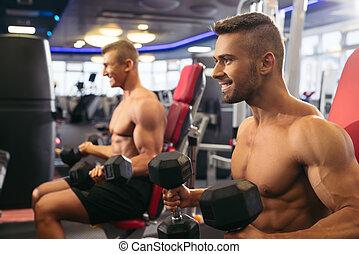 νέος , μυώδης , άντρεs , αναστατώνω , με , dumbells , μέσα , γυμναστήριο