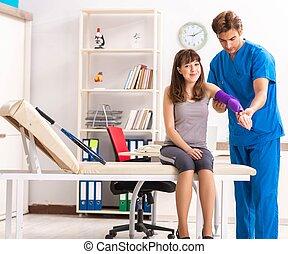 νέος , παίχτης , επίσκεψη , traumatologist, τένιs , γιατρός