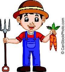νέος , τσουγκράνα , γελοιογραφία , κράτημα , γεωργόs