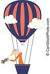νέος , balloon, ιπτάμενος , απομονωμένος , εικόνα , αέραs , κάμερα ανήρ