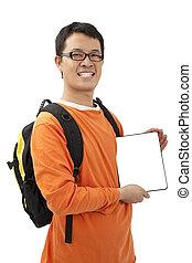 νέος , touchpad , pc , κράτημα , ευτυχισμένος , άντραs