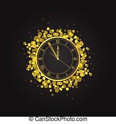 νέο έτος , εικόνα , χρυσός , ρολόι