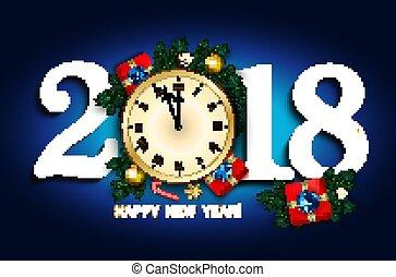νέο έτος , κάρτα , ρολόι