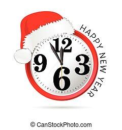 νέο έτος , καπέλο , εικόνα , ρολόι