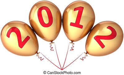 νέο έτος , μπαλόνι , χρυσαφένιος , 2012